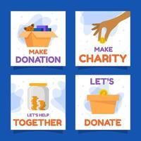 plano de doação para levantamento de apoio e coleta de cartão de conscientização vetor
