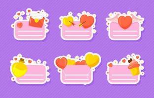 coleção colorida de adesivos de coração do dia dos namorados vetor