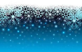 fundo azul de flocos de neve de inverno vetor