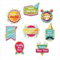 etiqueta divertida e alegre de ano novo vetor