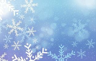 fundo desfocado de inverno com flocos de neve vetor