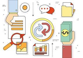 Elementos e ícones empresariais gratuitos de design plano vetor
