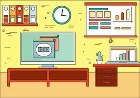 Ilustração plana da sala de escritório de vetores de design plano gratuito
