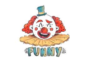 Palhaço de circo de sorriso do vintage com cabelo vermelho e chapéu azul vetor