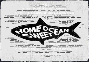 Silhueta de peixe desenhada mão vintage gratuita vetor