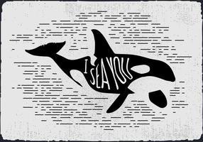 Silhueta livre da baleia desenhada mão do vintage vetor