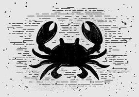 Silhueta de caranguejo desenhada mão vintage gratuita
