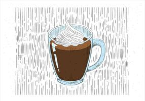 Ilustração desenhada à mão na mão do vetor de xícara de café