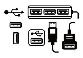 Conjunto de vetores de porta USB