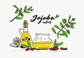 Jojoba Oil Bottle Hand Drawn Ilustração vetorial vetor