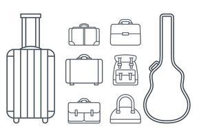 Vetores de ícones de itens e bagagens