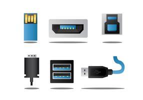 Pacote de vetores portuários USB