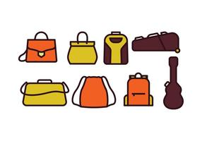 Conjunto de ícones de sacos e capas vetor