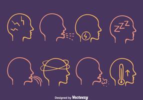Vetor de ícones de dor de cabeça