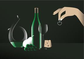 Vinho De Decanter Elegante Na Ilustração De Vector Da Mesa