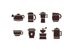 Ícones do conjunto de cafe vetor