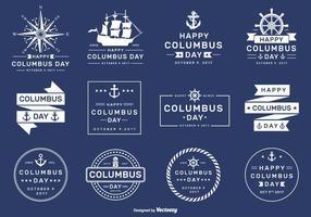 Feliz ano 2017 de Columbus e etiquetas de vetores e distintivos