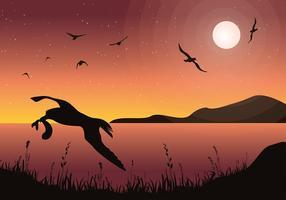 Albatroz, silhueta de pássaro, vetor grátis