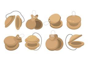 Conjunto de ícones de Castanets vetor