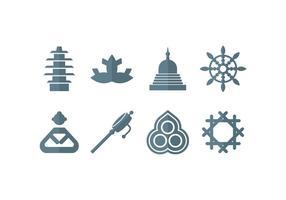 Meditação, ioga, zen, buddha set icons vetor