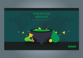 Moljacete Comida tradicional mexicana e ferramentas de moagem. Modelo da Web. vetor