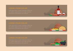 Molcajete Comida tradicional mexicana e ferramentas de moagem. Web Banner Template. vetor