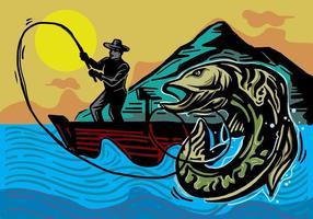 Woodcut Muskie Fishing Illustration vetor
