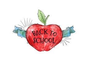 Back To School Watercolor Apple com vetor de fita