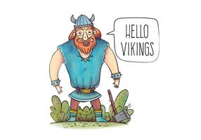 Caráter viking com vector de cabelo de gengibre