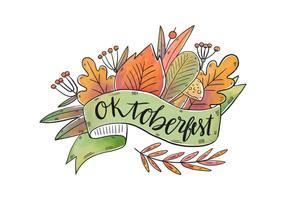Folhas florais de aquarela de vetor para Oktoberfest
