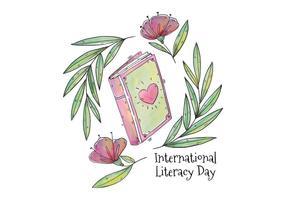 Livro de aquarela com coração para o vetor do dia da alfabetização