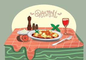 Ravioli Pasta Vector Illustration