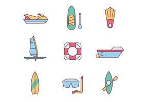 Ícones de esportes aquáticos