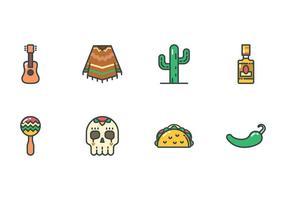 Jogo livre de ícones do México vetor