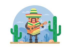 Homem mexicano livre que joga a ilustração da guitarra vetor