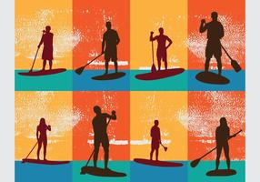 Athletes Silhouette Standing On Paddleboard Vectors