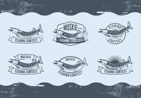 design de etiqueta de pesca de muskie vetor