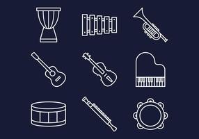 Ícones de Instrumentos de Música vetor