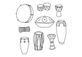 Conjunto de vetores de tambor desenhados à mão