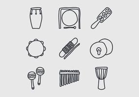 Instrumentos Doodles vetor