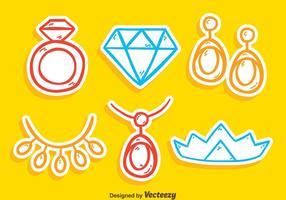 Vector de coleção de jóias de esboço
