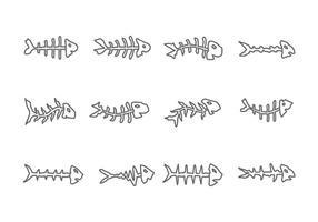 Ícone Fishbone no fundo branco vetor