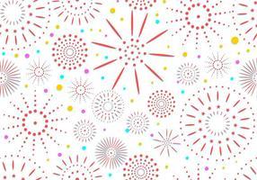 Conjunto de fogos de artifício em fundo de padrão sem emenda branco vetor