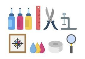 Vetores de ferramentas de impressão de tela plana