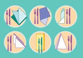 Conjunto de guardanapos ou guardanapo com garfo e faca na parte superior vetor