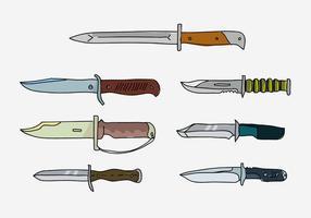 Coleção da baioneta do exército Ilustração desenhada mão do vetor