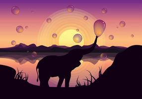Cute elefante blowing bubbles free vector