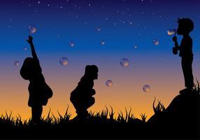 crianças brincando com vetor livre de bolhas