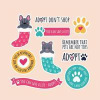 coleção de adesivos de adoção de animal de estimação vetor