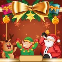 Papai Noel e seu ajudante fundo de natal vetor
